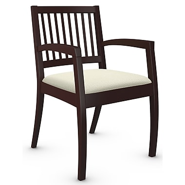 Global Beach Armchair w Vertical Wood Slat Back and Mahogany Wood Frame, Terrace