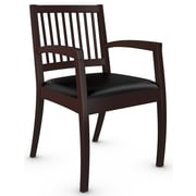 Global Beach Armchair w Vertical Wood Slat Back and Mahogany Wood Frame, Leather, Black (BLACK)