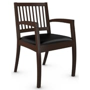 Global Beach Armchair w Vertical Wood Slat Back and Walnut Wood Frame, Leather, Black (BLACK)