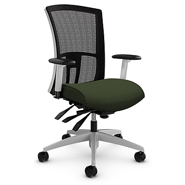 Global Vion Heavy Duty Medium Back Multi-Tilter, Terrace, Wintergreen Fabric (GREEN), Black Mesh Back (BLACK)