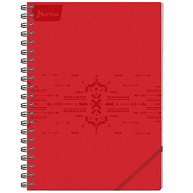 Norma – Cahier de notes en cuir, 8,25 x 11 po, rouge, 240 pages, 2/paquet (550159)