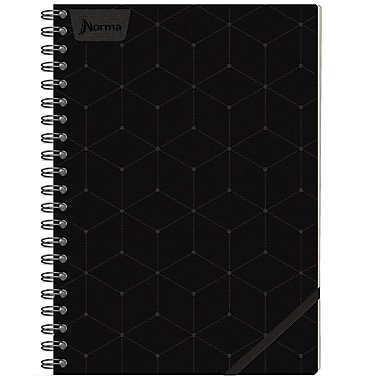 Cahier de notes en cuir Norma, 6 x 9 po, noir, 240 pages, 3/paquet (550690)