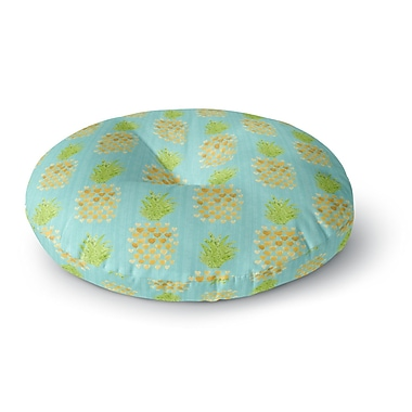East Urban Home Noonday Design 'Heart Pineapples' Painting Round Floor Pillow; 23'' x 23''