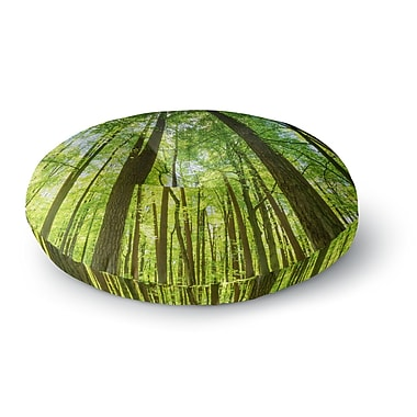 East Urban Home Susan Sanders 'Green Tree Sky' Photography Round Floor Pillow; 23'' x 23''