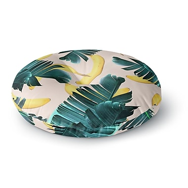East Urban Home 83 Oranges 'Banana Leaves & Fruit' Mixed Media Round Floor Pillow; 26'' x 26''