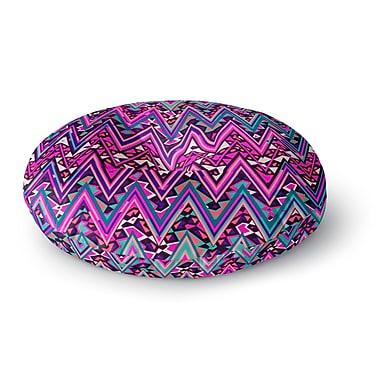 East Urban Home Nika Martinez 'Pink Electric Chevron' Round Floor Pillow; 26'' x 26''
