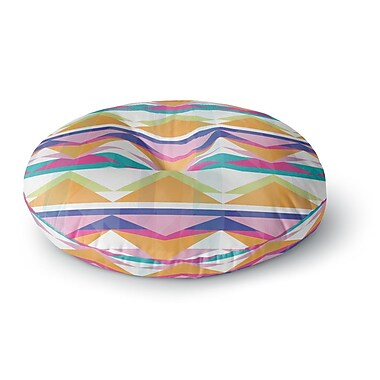 East Urban Home Miranda Mol 'Triangle Waves' Geometric Round Floor Pillow; 23'' x 23''
