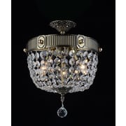 CrystalWorld Brass 3-Light Semi Flush Mount