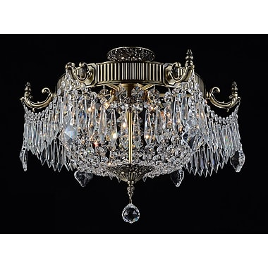 CrystalWorld Brass 6-Light Semi Flush Mount