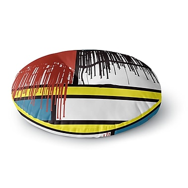 East Urban Home Just L 'Saint Drips' Abstract Round Floor Pillow; 23'' x 23''