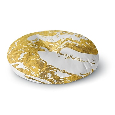 East Urban Home 'Gold Ink on Water' Metal Round Floor Pillow; 23'' x 23''