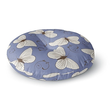 East Urban Home Louise 'Butterflies' Round Floor Pillow; 26'' x 26''