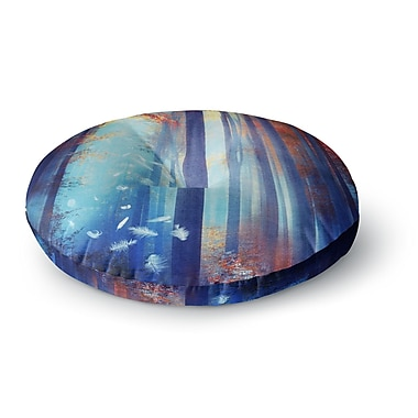 East Urban Home Viviana Gonzalez 'Dreams in Blue' Trees Round Floor Pillow; 26'' x 26''
