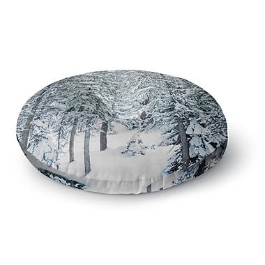 East Urban Home Juan Paolo 'Winter Trials' Snow Round Floor Pillow; 26'' x 26''