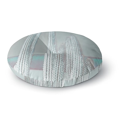 East Urban Home Suzanne Carter 'Cactus-Blue' Digital Round Floor Pillow; 23'' x 23''