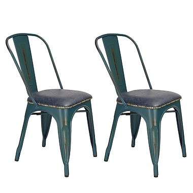 17 Stories Prisha Metal Upholstered Dining Chair (Set of 2)