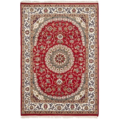Darby Home Co Ivan Hand-Knotted Red Area Rug