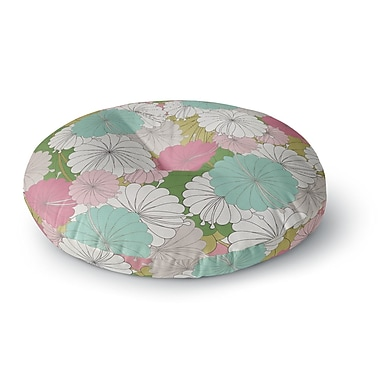 East Urban Home Michelle Drew 'Parasol Flowers' Abstract Round Floor Pillow; 26'' x 26''