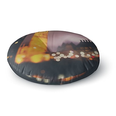 East Urban Home Laura Evans 'Westminster at Night' Round Floor Pillow; 26'' x 26''