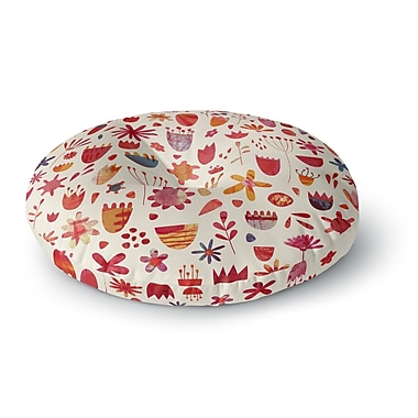 East Urban Home Nic Squirrell 'Spring Flowers' Round Floor Pillow; 26'' x 26''