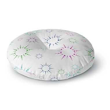 East Urban Home NL Designs 'Rainbow Fireworks' Round Floor Pillow; 26'' x 26''