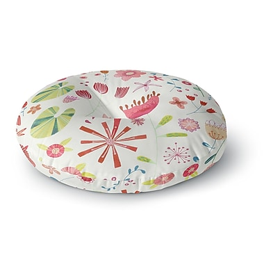 East Urban Home Nic Squirrell 'Pressed Wildflowers' Round Floor Pillow; 23'' x 23''