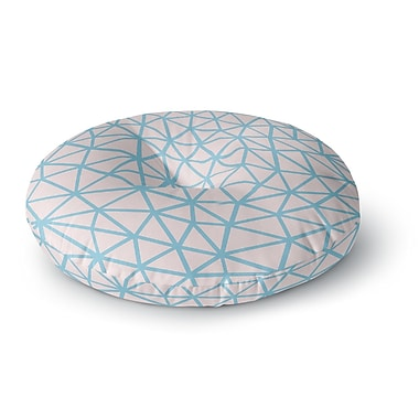 East Urban Home Project M 'Segment Pink and Blue' Digital Round Floor Pillow; 26'' x 26''
