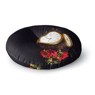 East Urban Home Robin Dickinson 'Xmas Clock' Seasonal Round Floor Pillow; 23'' x 23''