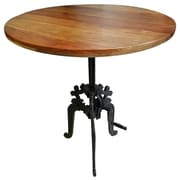 17 Stories Alvie Round Carved Iron Base Crank Dining Table