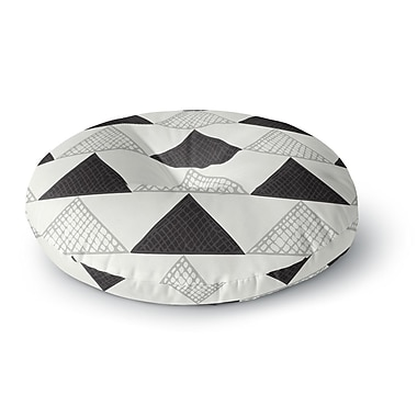 East Urban Home Laurie Baars 'Textured Triangles' Geometric Abstract Round Floor Pillow; 26'' x 26''