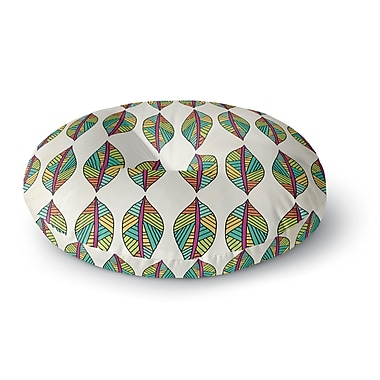 East Urban Home Pom Graphic Design 'Tribal Leaves' Round Floor Pillow; 26'' x 26''