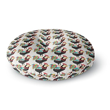 East Urban Home Pom Graphic Design 'The Rooster Squad' Round Floor Pillow; 23'' x 23''