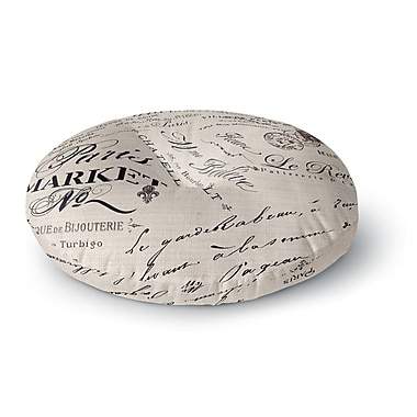East Urban Home Sylvia Cook 'French Script' Handwriting Round Floor Pillow; 23'' x 23''