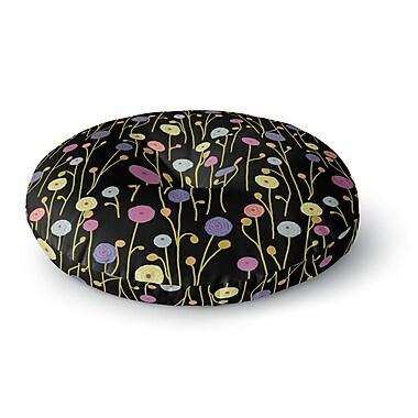 East Urban Home Laura Nicholson 'Ranunculas on Black' Floral Round Floor Pillow; 23'' x 23''