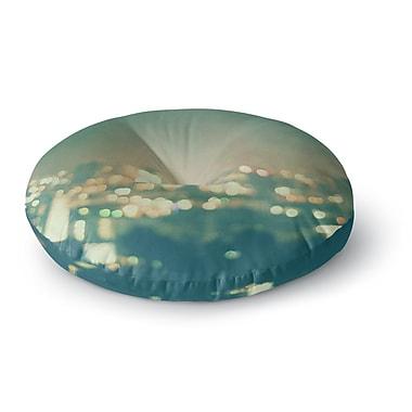 East Urban Home Myan Soffia 'Anniversary' City Lights Round Floor Pillow; 26'' x 26''