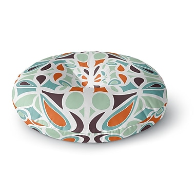 East Urban Home Miranda Mol 'Orange Purple Stained Glass' Round Floor Pillow; 23'' x 23''