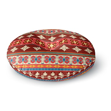 East Urban Home Nandita Singh 'Borders Red' Round Floor Pillow; 23'' x 23''