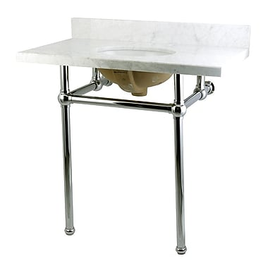 Kingston Brass Templeton Fauceture Carrara Marble 36'' Console Bathroom Sink w/ Overflow; Chrome
