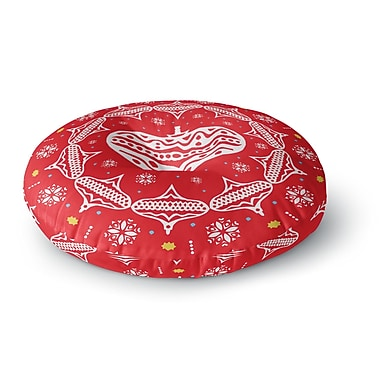 East Urban Home Miranda Mol 'Deco Wreath Red' Scarlet Round Floor Pillow; 26'' x 26''