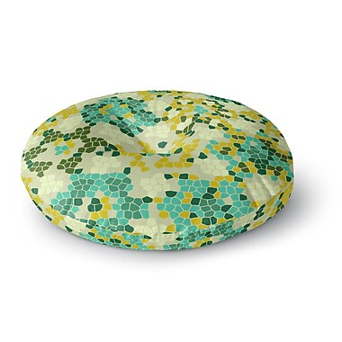 East Urban Home Laura Nicholson 'Flower Garden Mosaic' Round Floor Pillow; 23'' x 23''