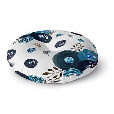 East Urban Home Li Zamperini 'Just Blue' Floral Watercolor Round Floor Pillow; 23'' x 23''