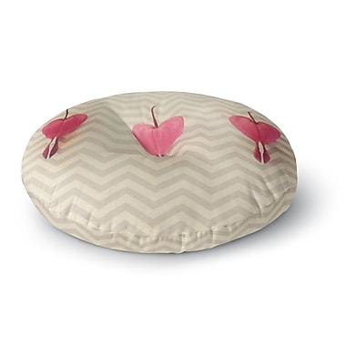 East Urban Home Robin Dickinson 'Pink Heart w/ Chevrons' Floral Round Floor Pillow; 26'' x 26''