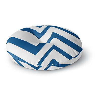 East Urban Home NL Designs 'ZigZag Navy' Round Floor Pillow; 26'' x 26''
