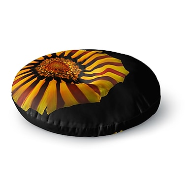 East Urban Home Nick Nareshni 'Red and Yellow Flower' Floral Photography Round Floor Pillow
