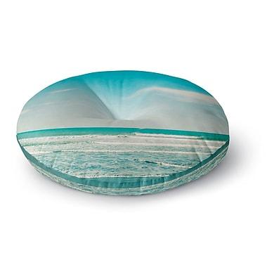 East Urban Home Susannah Tucker 'The Teal Ocean' Round Floor Pillow; 26'' x 26''