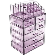 Rebrilliant Makeup Cosmetic Organizer; Clear Purple