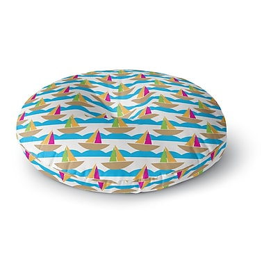 East Urban Home Apple Kaur Designs 'Beside the Seaside' Boats Round Floor Pillow; 26'' x 26''
