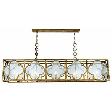 Bungalow Rose Angelo 10-Light LED Glass Kitchen Island Pendant; Golden Iron