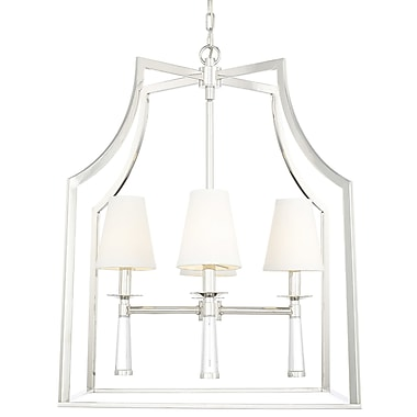 Gracie Oaks Indimar 4-Light Shaded Chandelier; Polished Nickel