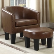 Gracie Oaks Mohamud Barrel Chair and Ottoman; Brown